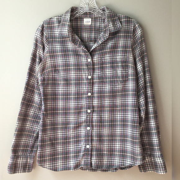 J. Crew Tops - J. Crew Button-Up Plaid Gray/Pink/White
